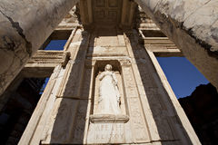 Sophia Goddess of Wisdom Ancient Statue. The library of Celsus is an ancient building in Ephesus, Izmir, Turkey Stock Photos