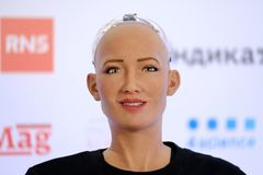 Sophia humanoid robot at Open Innovations Conference at Skolokovo technopark. Moscow, Russia - October 1, 2017: Sophia humanoid robot at Open Innovations Royalty Free Stock Photography