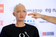 Sophia humanoid robot at Open Innovations Conference at Skolokovo technopark. Moscow, Russia - October 1, 2017: Sophia humanoid robot at Open Innovations Stock Photo