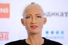 Sophia humanoid robot at Open Innovations Conference at Skolokovo technopark Royalty Free Stock Photography