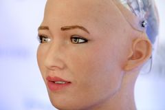 Sophia humanoid robot at Open Innovations Conference at Skolokovo technopark. Moscow, Russia - October 1, 2017: Sophia humanoid robot at Open Innovations Royalty Free Stock Photo