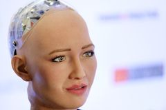 Sophia humanoid robot at Open Innovations Conference at Skolokovo technopark. Moscow, Russia - October 1, 2017: Sophia humanoid robot at Open Innovations Stock Image