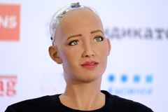 Sophia humanoid robot at Open Innovations Conference at Skolokovo technopark. Moscow, Russia - October 1, 2017: Sophia humanoid robot speaking Russian at Open Royalty Free Stock Photo