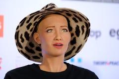 Sophia humanoid robot at Open Innovations Conference at Skolokovo technopark Stock Image