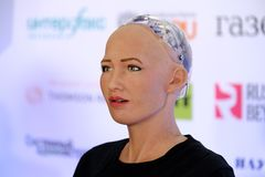 Sophia humanoid robot at Open Innovations Conference at Skolokovo technopark. Moscow, Russia - October 1, 2017: Sophia humanoid robot speaking Russian at Open Stock Photo