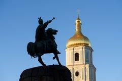 Sophia katedra i Bohdan Khmelnytsky zabytek, Kyiv fotografia royalty free
