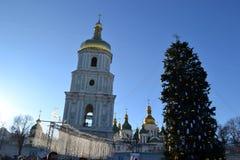 Sophia kwadrat Kijów, Ukraina 2018 2010 pejzaż miejski Styczeń Moscow Russia zima obraz stock