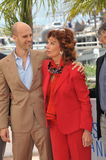 Sophia Loren & Edoardo Ponti. CANNES, FRANCE - MAY 21, 2014: Sophia Loren & son Edoardo Ponti at her photocall at the 67th Festival de Cannes, where she is Royalty Free Stock Images
