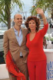 Sophia Loren & Edoardo Ponti. CANNES, FRANCE - MAY 21, 2014: Sophia Loren & son Edoardo Ponti at her photocall at the 67th Festival de Cannes, where she is Royalty Free Stock Photo
