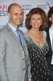 Sophia Loren & Edoardo Ponti. LOS ANGELES, CA - NOVEMBER 12, 2014: Sophia Loren & son Edoardo Ponti at the American Film Institute's special tribute gala in Royalty Free Stock Photos
