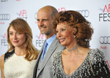 Sophia Loren & Edoardo Ponti & Sasha Alexander. LOS ANGELES, CA - NOVEMBER 12, 2014: Sophia Loren & son Edoardo Ponti & wife actress Sasha Alexander at Royalty Free Stock Photo