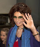 "Sophia Loren. Oscar-winning actress Sophia Loren appears on the red carpet for the world premiere of ""Human Voice,"" a short film in which she stars, based on Stock Photography"