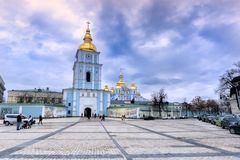 Sophia Square with Bell tower of the Saint Sophia Cathedral. On a cloudy day Stock Photography