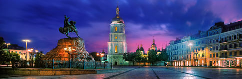 Sophia Square in the capital of Ukraine stock image