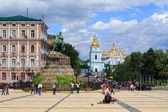 Sophia Square in Kiev. The capital of Ukraine, with monument and St. Michael's cathedral in the distance Royalty Free Stock Photos