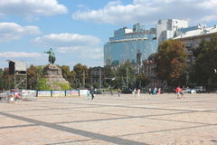 Sophia Square in Kiev. Sophia Square and the monument to Bogdan Royalty Free Stock Image