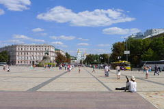 Sophia square, Kiev. St. Sofia's Square - one of the central squares and ancient Kiev. Sophia Square is located belfry of St. Sophia Cathedral and the monument Stock Photos