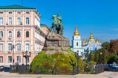 Sophia Square in Kiev, Ukraine. Monument to Bogdan Khmelnitsky on Sophia Square and St. Sophia Cathedral, Kiev, Ukraine stock photography