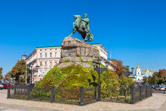 Sophia Square in Kiev, Ukraine. Monument to Bogdan Khmelnitsky on Sophia Square and St. Sophia Cathedral on background, Kiev, Ukraine Royalty Free Stock Photo