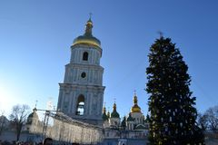 Sophia Square Kiev, Ukraine 2018. Winter cityscape. Christmas tree on the square Stock Image