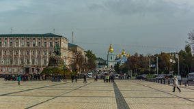 Sophia Square is one of the most beautiful, historic and well-kn. St. Michael`s Golden-Domed Monastery in Kiev, Ukraine. Monument to Bogdan Khmelnitsky on Sophia royalty free stock photography