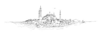 Sophia van het silhouethagia van Istanboel Stock Illustratie