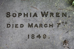 Sophia Wren's gravestone, great granddaughter of Sir Christopher. Bath, UK - APRIL 11 2016 Name and date engraved on the gravestone of the great granddaughter of royalty free stock photo