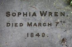 Sophia Wren's gravestone, great granddaughter of Sir Christopher Royalty Free Stock Photo