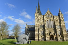 Sophie Ryder Art Exhibition at Salisbury Cathedral. SALISBURY, UK - FEBRUARY 11, 2015: View of artwork by the renowned sculpture Sophie Ryder as part of an Royalty Free Stock Image