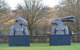 Sophie Ryder Art Exhibition at Salisbury Cathedral. SALISBURY, UK - FEBRUARY 11, 2015: View of artwork by the renowned sculpture Sophie Ryder as part of an Royalty Free Stock Photography