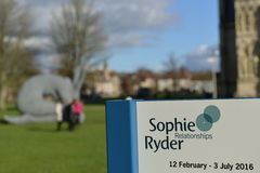 Sophie Ryder Art Exhibition at Salisbury Cathedral. SALISBURY, UK - FEBRUARY 11, 2015: View of a sign at an art installation by the renowned sculptor Sophie Royalty Free Stock Photos