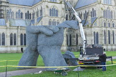 Sophie Ryder Art Exhibition at Salisbury Cathedral. SALISBURY, UK - FEBRUARY 11, 2015: Workers erect part of an art installation titled Relationships by renowned Royalty Free Stock Photography