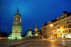 Sophievskaya Square with Bell tower of the Saint Sophia Cathedra. Kiev, Ukraine Royalty Free Stock Photo
