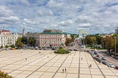 Sophievskaya Square. View from Bell tower of the Saint Sophia Cathedral. Kiev, Ukraine - August 8, 2017: Sophievskaya Square. View from Bell tower of the Saint Royalty Free Stock Photography