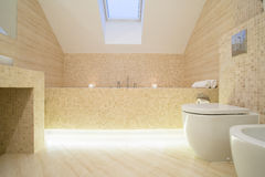 Sophisticated bathroom. Warm sophisticated bathroom with marble floor Royalty Free Stock Photography