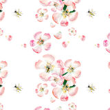 Sophisticated beautiful cute lovely tender herbal floral spring flowers of apple with green leaves and bees pattern watercolor. Hand illustration royalty free illustration