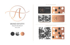 Sophisticated brand identity. Letter A line logo. Business card template included. Royalty Free Stock Image