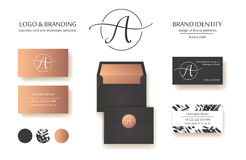 Sophisticated brand identity. Letter A line logo. Business card template included. Sophisticated brand identity. Letter A line logo. Can be used by appropriate stock illustration