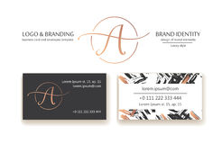 Sophisticated brand identity. Letter A line logo. Business card template included. Stock Image