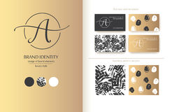 Sophisticated brand identity. Letter A line logo. Business card template included. Sophisticated brand identity. Letter A line logo. Can be used by appropriate vector illustration
