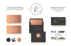 Sophisticated brand identity. Letter R line logo. Business card template included. Royalty Free Stock Image