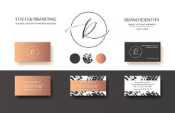 Sophisticated brand identity. Letter R line logo. Business card template included. Sophisticated brand identity. Letter R line logo. Can be used by appropriate stock illustration