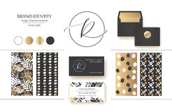 Sophisticated brand identity. Letter R line logo. Business card template included. Royalty Free Stock Images