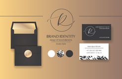 Sophisticated brand identity. Letter R line logo. Business card template included. Stock Photo