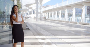 Sophisticated Business Woman on Promenade. Beautiful and Sophisticated Business Woman Standing on Malaga Harbour Promenade Royalty Free Stock Photos
