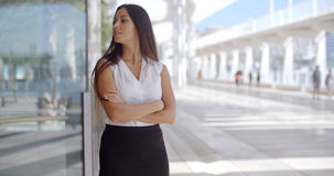 Sophisticated Business Woman on Promenade. Beautiful and Sophisticated Business Woman Standing on Malaga Harbour Promenade Stock Photos