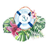 Sophisticated cute graphic lovely beautiful wonderful colorful bright summer sea fresh marine cruise pattern of lifebuoy and tropi. Cal palm leaves and flowers Royalty Free Stock Photos