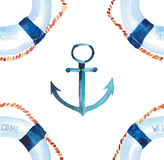 Sophisticated cute graphic lovely beautiful wonderful summer sea fresh marine cruise colorful lifebuoys and anchors pattern Royalty Free Stock Photography