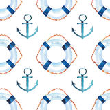 Sophisticated cute graphic lovely beautiful wonderful summer sea fresh marine cruise colorful lifebuoys and anchors pattern Stock Image