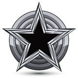 Sophisticated design geometric symbol, stylized pentagonal black. Star placed on a round silver surface, best for use in web and graphic design. Polished 3d Stock Image
